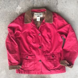 LL Bean women's barn jacket red small lined